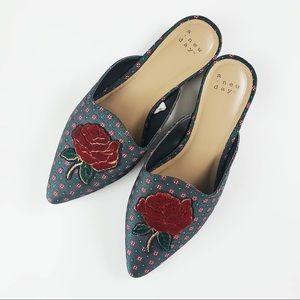 Target Rose Velvet Pointed Toe Slides